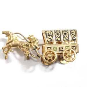 Vintage Damascene Brooch Horse Drawn Covered Wagon